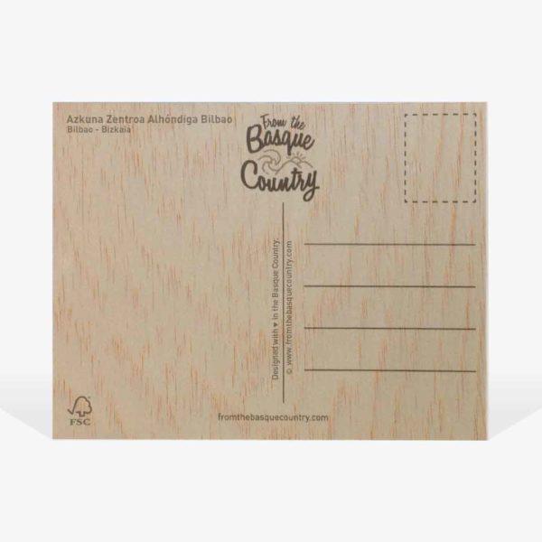 Reverso de postal de madera de Azkuna Zentroa Alhóndiga Bilbao
