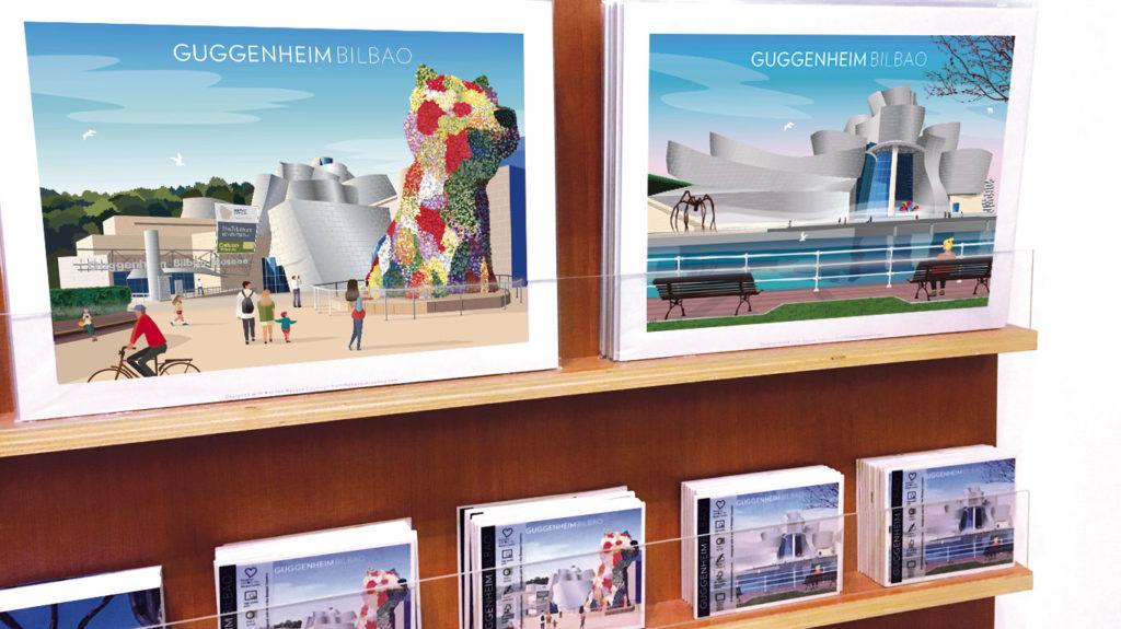 Láminas y postales en el Museo Guggenheim
